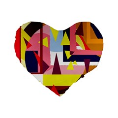 Colorful abstraction Standard 16  Premium Flano Heart Shape Cushions