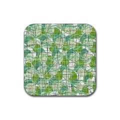 Gray decorative abstraction Rubber Square Coaster (4 pack)