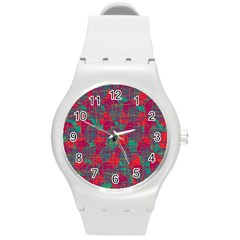 Decorative abstract art Round Plastic Sport Watch (M)