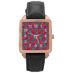 Decorative abstract art Rose Gold Leather Watch