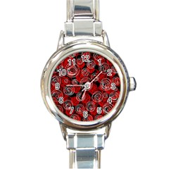 Red abstract decor Round Italian Charm Watch