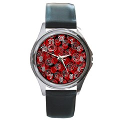 Red abstract decor Round Metal Watch