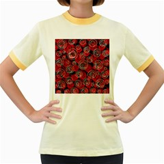 Red abstract decor Women s Fitted Ringer T-Shirts
