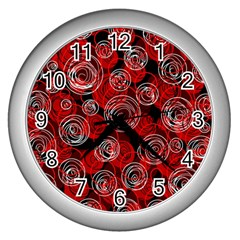 Red abstract decor Wall Clocks (Silver)