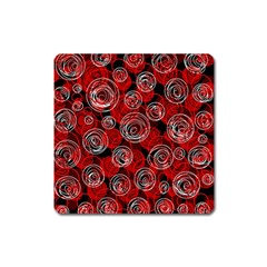 Red abstract decor Square Magnet