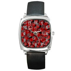Red abstract decor Square Metal Watch