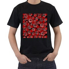 Red abstract decor Men s T-Shirt (Black) (Two Sided)