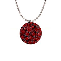 Red abstract decor Button Necklaces