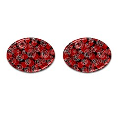 Red abstract decor Cufflinks (Oval)