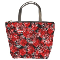 Red abstract decor Bucket Bags