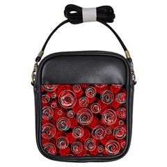 Red abstract decor Girls Sling Bags