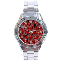 Red abstract decor Stainless Steel Analogue Watch