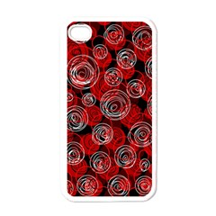 Red abstract decor Apple iPhone 4 Case (White)