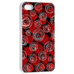 Red abstract decor Apple iPhone 4/4s Seamless Case (White)