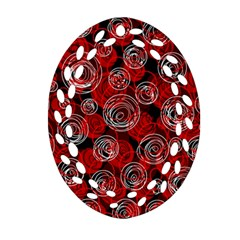 Red abstract decor Ornament (Oval Filigree)