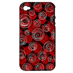 Red abstract decor Apple iPhone 4/4S Hardshell Case (PC+Silicone)