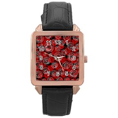 Red abstract decor Rose Gold Leather Watch