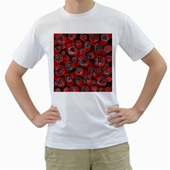 Red abstract decor Men s T-Shirt (White)