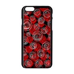 Red abstract decor Apple iPhone 6/6S Black Enamel Case