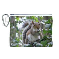 Gray Squirrel Eating Sycamore Seed Canvas Cosmetic Bag (L)