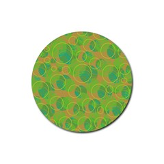 Green decorative art Rubber Round Coaster (4 pack)