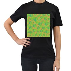 Green decorative art Women s T-Shirt (Black) (Two Sided)
