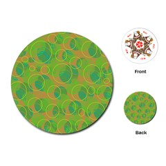 Green decorative art Playing Cards (Round)