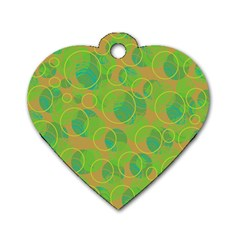 Green decorative art Dog Tag Heart (One Side)