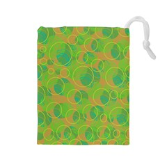 Green decorative art Drawstring Pouches (Large)