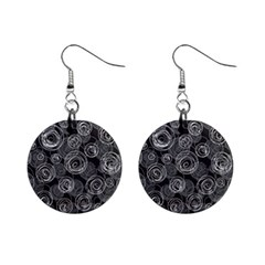 Gray Abstract Art Mini Button Earrings