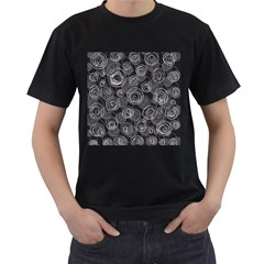 Gray abstract art Men s T-Shirt (Black) (Two Sided)