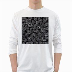 Gray abstract art White Long Sleeve T-Shirts
