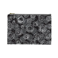 Gray abstract art Cosmetic Bag (Large)