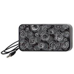 Gray abstract art Portable Speaker (Black)