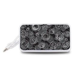 Gray abstract art Portable Speaker (White)