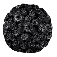 Gray abstract art Large 18  Premium Round Cushions