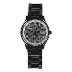 Gray abstract art Stainless Steel Round Watch