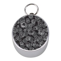 Gray abstract art Mini Silver Compasses