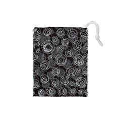 Gray abstract art Drawstring Pouches (Small)