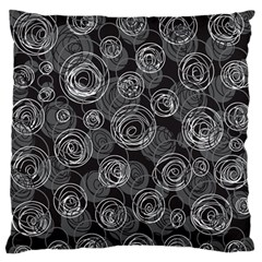 Gray abstract art Large Flano Cushion Case (One Side)