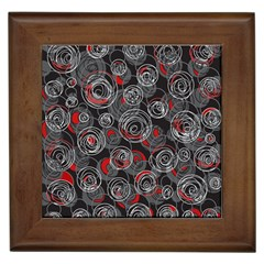Red and gray abstract art Framed Tiles