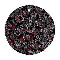Red and gray abstract art Ornament (Round)