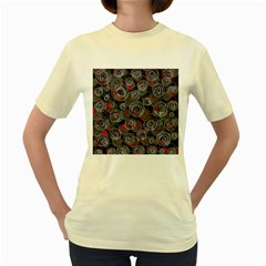 Red and gray abstract art Women s Yellow T-Shirt