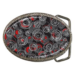 Red and gray abstract art Belt Buckles