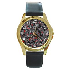 Red and gray abstract art Round Gold Metal Watch