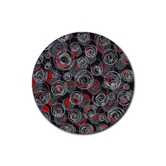 Red and gray abstract art Rubber Round Coaster (4 pack)
