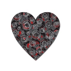 Red and gray abstract art Heart Magnet