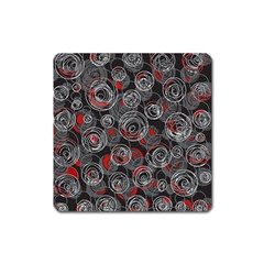Red and gray abstract art Square Magnet