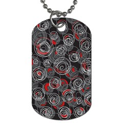 Red and gray abstract art Dog Tag (Two Sides)