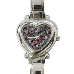 Red and gray abstract art Heart Italian Charm Watch